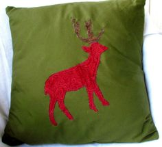 Pillow Cover standard 16 square with Red Deer by TheBossyCow, $35.00