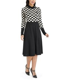 Another great find on #zulily! Black & White Racing Checkerboard Margie Ray Dress by Voodoo Vixen #zulilyfinds