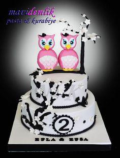 mavi demlik mutfağı- izmir butik pasta kurabiye cupcake tasarım- şeker hamurlu-kur: İKİZ KARDEŞLER EFLA & EFSA' NIN 2. YAŞ BAYKUŞ TEMA...