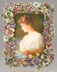 floral beauty -- picture frame made from a collection of vintage pins and buttons.