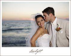 Marriott Sand Key, bride and groom, beach, sunset, tan suit, orange sky, Wedding, Limelight Photography www.stepintothelimelight.com
