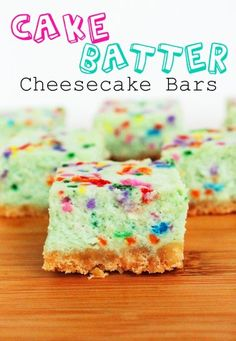 Funfetti cake batter cheesecake bars