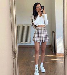 Teen Fashion Outfits, Mode Outfits, Retro Outfits, Girly Outfits, Cute Casual Outfits, Fall Outfits, Cute Fall Fashion, Look Fashion, Cute Skirt Outfits