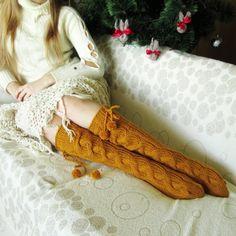 Тенденция в 2015 году!  Горчица цветные носки!  Колено высокие носки ручной вязки носков шерстяных носков Теплые зимние носки рождественский подарок