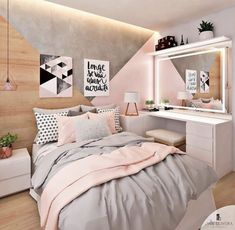 Pink white and grey girl s bedroom pastel bedroom decor inspiration small Bedroom Pastel Bedroom, Pink Bedroom Decor, Small Room Bedroom, Room Ideas Bedroom, Bedroom Vintage, Trendy Bedroom, Bedroom Themes, Gold Bedroom, Diy Bedroom