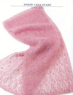 Bellissima sciarpa multicolore ai ferri con un punto insolito, che ci permetterà di consumare gli avanzi di lana Lace Knitting, Knit Crochet, Lace Scarf, Lace Shawls, Womens Scarves, Tatting, Fancy, Album, Pattern