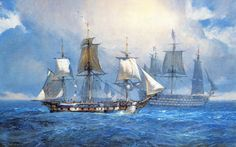 """Geoff Hunt Print - """"Dispatches For Admiral Thornton"""" Ships and Vessels of Captain Aubrey's Navy. In this Mediterranean scene we see the frigate HMS Surprise arriving with dispatches for Admiral Thornton, flying his flag in the massive 110-gun HMS Ocean. Both ships are hove-to, allowing boats to shuttle between them. The Mediterranean is sometimes far from being a peaceful sea, particularly in winter; and rainsqualls are sweeping over the fleet. -- on ScrimshawGallery.com #GeoffHunt #Aubrey…"""