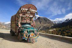 Decorated truck on the Korakoram Highway from Gilgit to Karimabad,Northern Pakistan by kukkaibkk, via Flickr