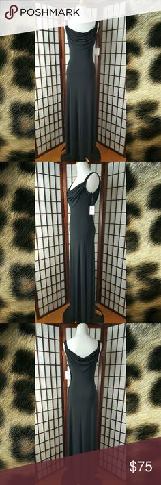 """Black CALVIN KLEIN Draped Neck Maxi Dress Size 2 New with tag Calvin Klein size 2 Maxi Dress style  Draped Neck front and back See photos  black color   solid pattern Made of 95% polyester and 5% spandex Simply Elegant Dress ??  Measurements approximate Pit to pit 16"""" Shoulder to hem 60"""" Waist 28"""" Calvin Klein Dresses Maxi"""