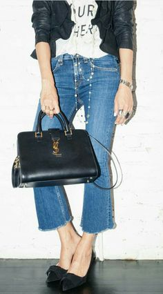 Ysl bag denim street style
