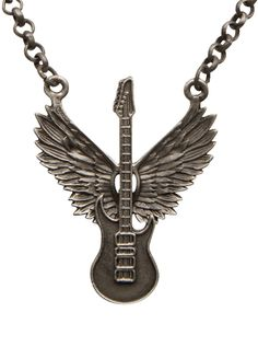 Winged Guitar Necklace by Kitsch 'n' Kouture (Gun Metal)