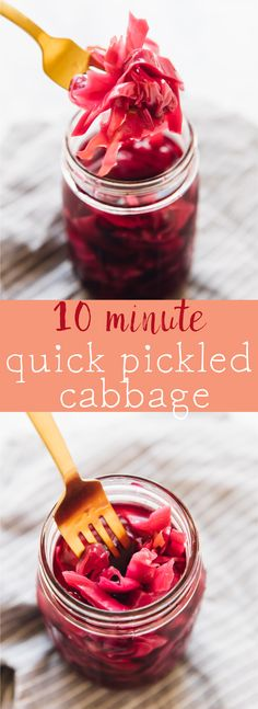 This Quick Pickled Cabbage recipe takes only 10 minutes! It completely transforms the pickles, and adds a divine pop of flavour to any recipe. Use them in sandwiches, tacos, burgers and any recipe you like! via https://jessicainthekitchen.com