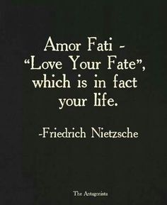 "Amor fati - ""Love your fate,"" which is, in fact, your life. -Friedrich Nietzsche"