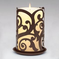 Rustic Swirl Candle Sleeve - Stylish swirls slip over a pillar or jar candle to add instant beauty.