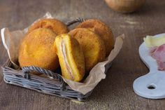 Polenta cordon blue or polenta filled with cheese and ham and then breaded and deep fried