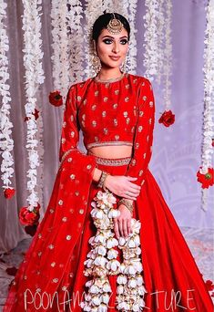 Classic Red Bridal Lehenga by Poonams Kaurture. #Frugal2Fab Dress Indian Style, Indian Fashion Dresses, Pakistani Dresses, Indian Outfits, Prom Dresses For Teens, Party Wear Dresses, Dresses Uk, Floral Lehenga, Bridal Lehenga