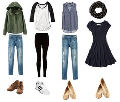 15 essential travel pieces, granted this is from a college fashion blog, but these are pieces I wear/own.