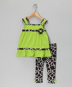Green & Brown Zebra Tunic & Leggings - Infant, Toddler & Girls