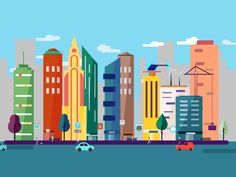 Modern city animation by Crispmotion This animation shows you every little piece and how they work together to create the overall composition.