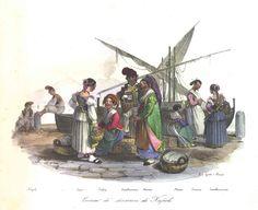 """""""Costumi de' dintorni di Napoli"""", litografia colorata d'epoca di Gatti. """""""