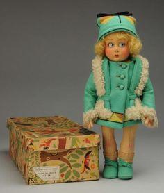 All felt doll from Italy, bright facial color, original mohair wig; on Dec 2014 Felt Dolls, Paper Dolls, Baby Dolls, Antique Collectors, Antique Toys, Doll Closet, Living Dolls, Old Toys, Cute Dolls
