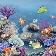 Realistic Paintings of Coral Reef | Coral Reef Painting Coral Reef Drawing, Coral Reef Art, Coral Painting, Coral Watercolor, Surfboard Painting, Underwater Painting, Tatoo Art, Personalized Wall Art, Sea Art