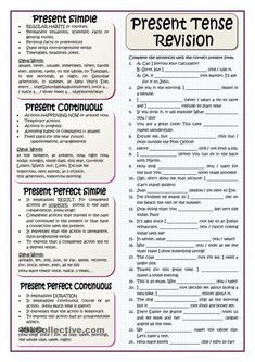 It includes an array of examples of the different uses of the present tenses and a short explanation in order to be used as an introduction in the classroom or as a revision before the exam at home. English Grammar Tenses, Teaching English Grammar, English Worksheets For Kids, English Vocabulary, Learning English, Tenses Exercises, Grammar Exercises, Grammar Practice, Grammar Lessons