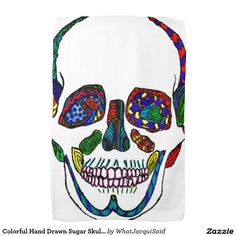 Colorful Hand Drawn Sugar Skull Mosaic Hand Towel #skulls #zazzle #sugarskull #colorful #towels #dishtowel #dayofthedead