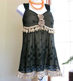 Upcycled black lace bustier style top Bohemian top Black boho gypsy tunic Sleeveless top Black with gold trim Women's Small Medium Sm Med. $55.00, via Etsy.
