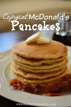 This copycat McDonalds Pancakes Recipe beats any other pancake recipe around - it tastes just like the real thing ad is SO easy to make.