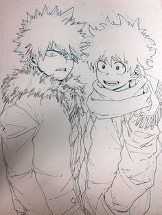 """Deku and Kacchan ~ """"Anyone who can draw Izuku's hair perfectly is a demigod."""" < This is so true!"""