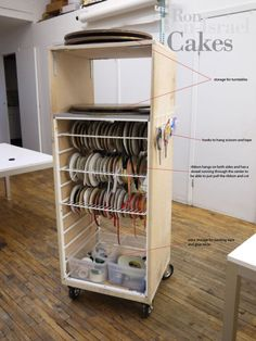 Space organising idea from RBI cakes : ribbon crate