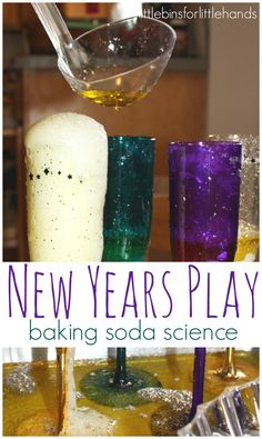 New Years Activity and New Years Eve Fizzy Baking Soda Science! : New years baking soda science experiment science sensory play activity