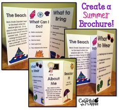 Back-to-School idea: Students create a brochure about their summer.  Great idea for the first week of school!