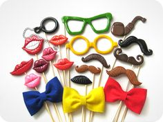 Set of 20 Piece Plastic Photo Booth Party Props - Mustaches and lips on sticks - Wedding, party photobooth props. $120.00, via Etsy.