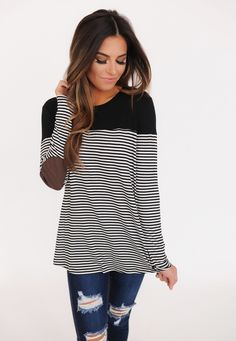 Black Stripe/Brown Elbow Patch Top - Dottie Couture Boutique