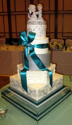 Amazing Teal And Silver Wedding Ideas | Silver, White And Teal   By Lelka @  CakesDecor