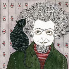 Le Chat Noir: Yelena Bryksenkova's 2009 drawing of Georges Perec, whose master work, 'Life: A User's Manual,' was published in 1978.