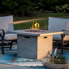 Red Ember 38 in. Whitesands Square Fire Pit with FREE Cover