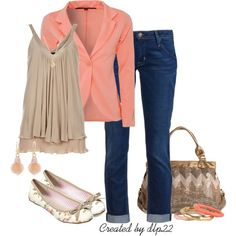 *Christmas Party?    Cute! Semi-casual outfit. Great for Casual Fridays at the office.   Fashion. Trendy.   Coral blazer, taupe top, dark jeans, simple flats.
