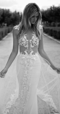 idan cohen bridal 2017 cap sleeve deep vneck lace sheath wedding dress (violette) zfv train