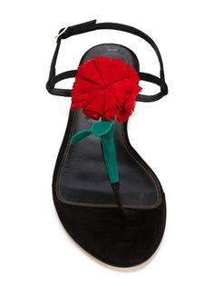 Oscar de la Renta flower detail strap sandals