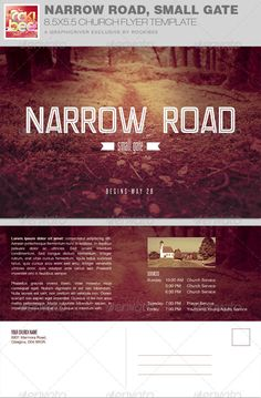 This Narrow Road, Small Gate Church Flyer Invite Template is sold exclusively on graphicriver, it can be used for your church events, concerts or any event that need a clean modern design for promotional purposes.