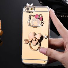 Mirror Electroplating Soft TPU hello kitty Bling diamond Metal Ring Stand Cases For iphone 7 6 Plus se 5 phone case – World of Hello Kitty Merchandise Iphone 7, Iphone Cases Bling, Iphone Cases For Girls, Apple Iphone, Galaxy S3, Hello Kitty Merchandise, Kate Spade, Ring Stand, Iphone Models