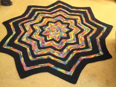 Stained Glass  9-pointed star crochet blanket