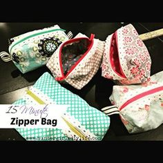 Fun DIY Zipper Bag! I love making these cute bags for gifts! These are so easy to make and a perfect beginners sewing project. #huntergirlsdiylife #sewing #perfectgift