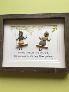 """""""Sisters""""pebble art framed in 8x10 shadow box.Makes a great birthday gift, nursery decor,sure to evoke childhood memories. Thanks for your interest"""