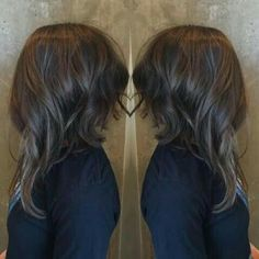 Inverted long bob with curls.