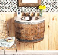 Altes Whiskey-Fass wird zum Waschbecken