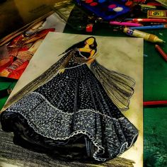 "nikhil.gurjar on Instagram: ""इनायत🖤(@sonambajwa) . . . .  #fashionsketchs #fashiondrawings #fashionart #fashionillustration #fashionillustrator #fashionartist…"" Dress Design Drawing, Dress Design Sketches, Fashion Design Sketchbook, Fashion Design Drawings, Fashion Sketches, Fashion Drawing Dresses, Fashion Illustration Dresses, Fashion Illustration Tutorial, Indian Illustration"